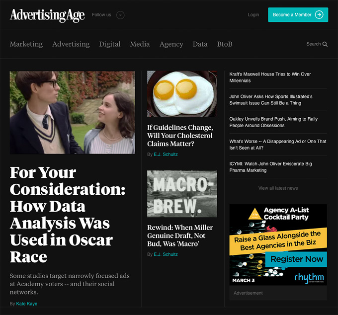 The Advertising Age homepage