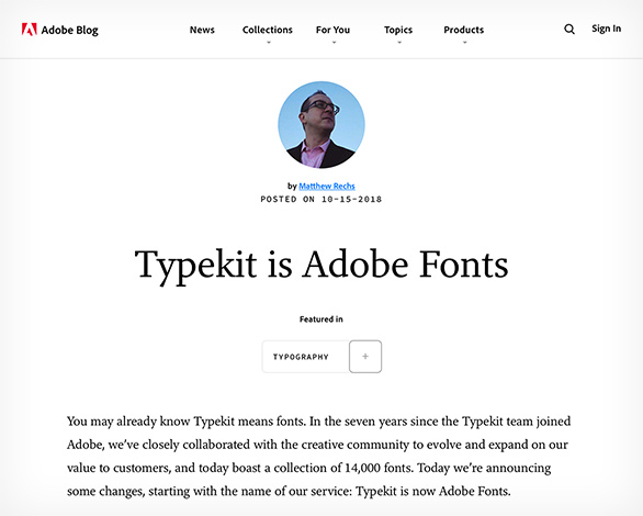 Typekit name change
