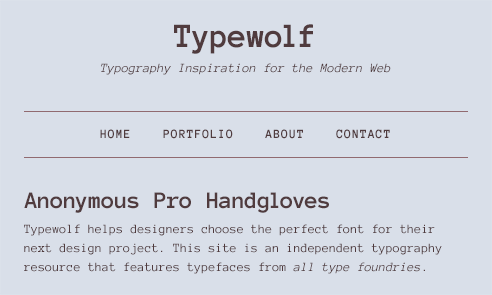 Anonymous Pro Font Sample