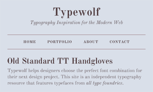 Old Standard TT Font Sample