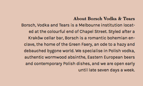 Borsch, Vodka & Tears
