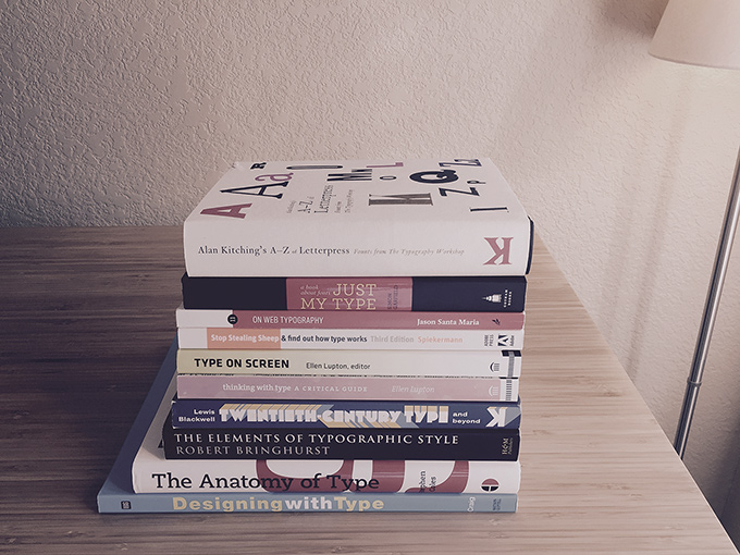 Stack of typography books